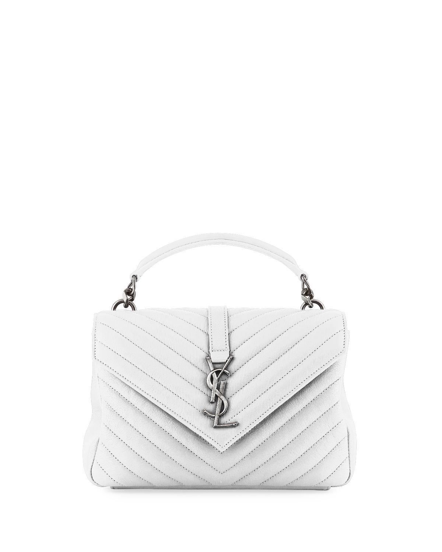 94485e1f6b Saint Laurent College Medium Monogram Ysl V-Flap Crossbody Bag - Silver  Hardware In White