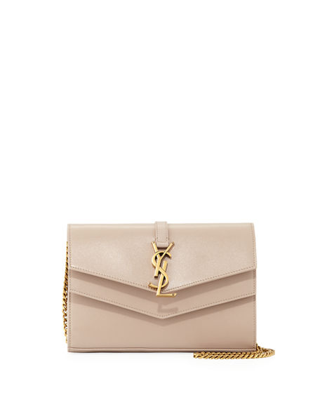 4541bf0db28 Saint Laurent Sulpice Monogram Ysl V-Flap Wallet On Chain In Neutral ...
