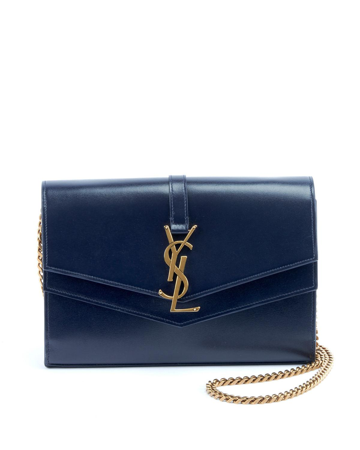 a39becedf88 Saint Laurent Sulpice Monogram Ysl V-Flap Wallet On Chain In Dark Blue