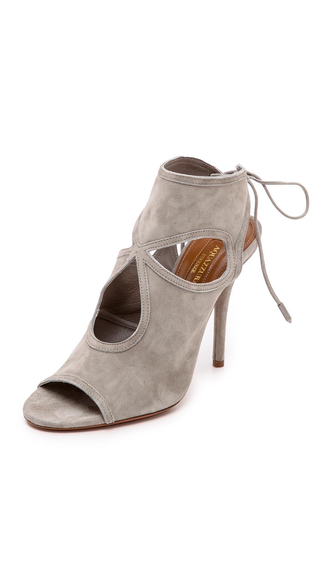 Aquazzura Sexy Thing Suede 85Mm Sandal, Light Gray In Light Grey
