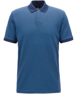 Hugo Boss Boss Men's Slim-Fit Cotton Polo In White/Denim Blue