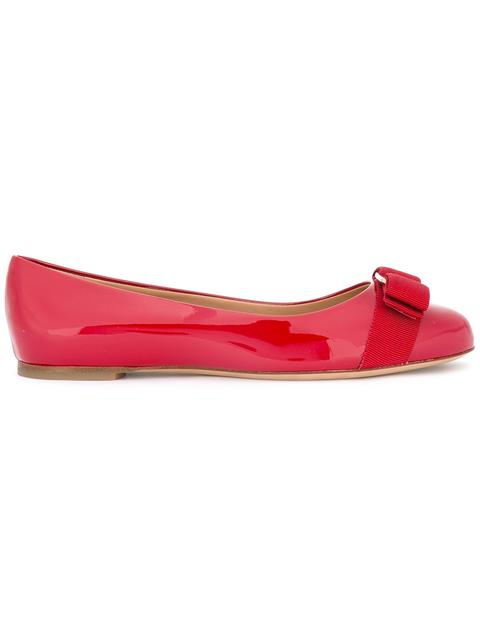 Salvatore Ferragamo Varina Mini Patent Leather Ballet Flats, 10T-2Y In Red