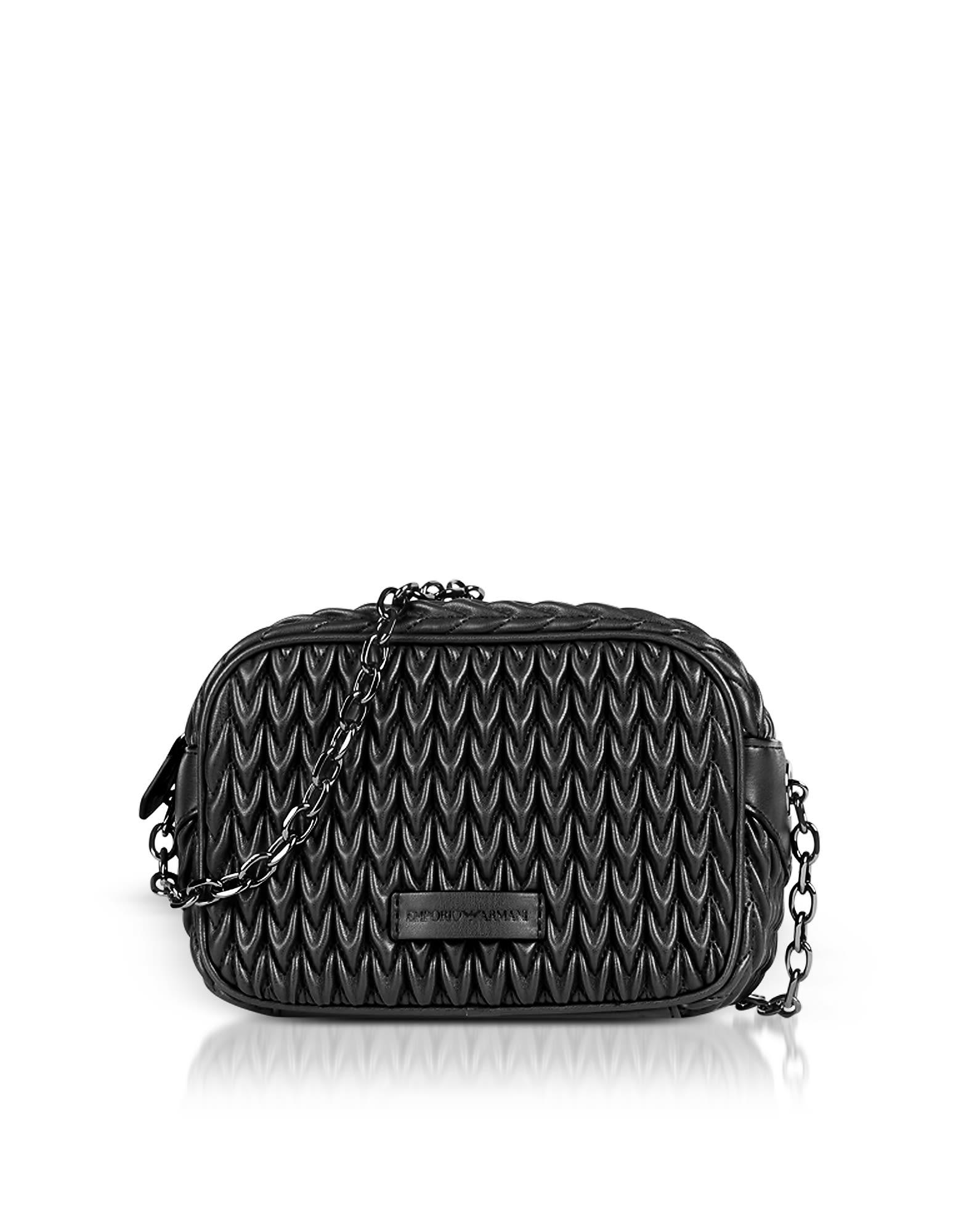 Emporio Armani Quilted Eco-Leather Shoulder Bag In Black  aabcadfd39e07