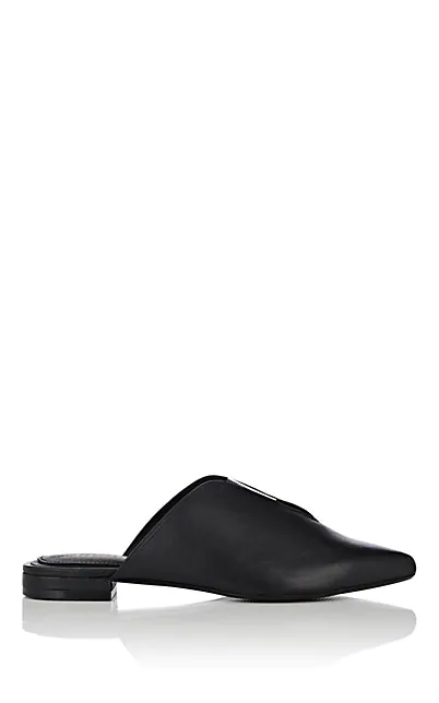 Barneys New York Leather Mules In Black