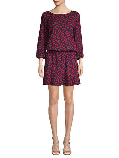 Joie Printed Three-Quarter-Sleeve Dress In Midnight Cherry