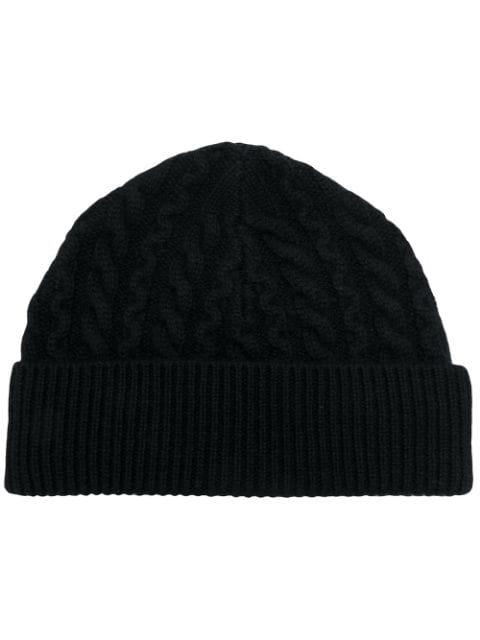 Aspesi Cable Knit Beanie - Black