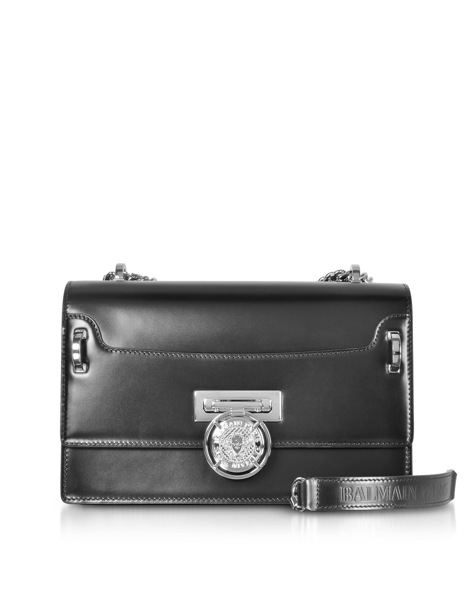 769e189725 Balmain Black Smooth Leather Bbox 25 Flap Shoulder Bag | ModeSens