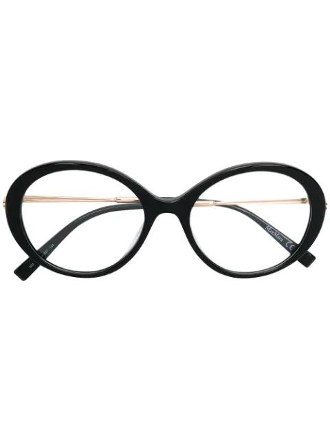 Max Mara Classic Round Glasses In Black