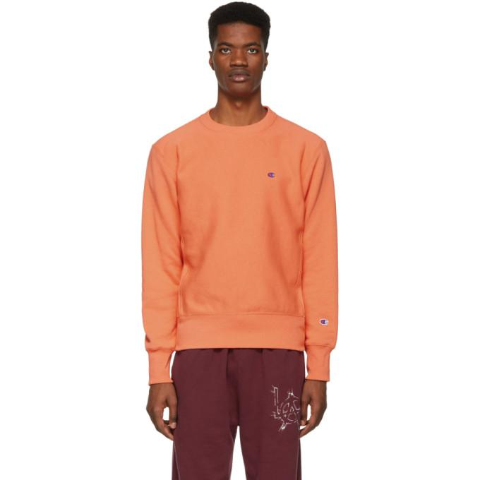 ad81d281abf9 Champion Reverse Weave Orange Logo Sweatshirt In Psm-Peach