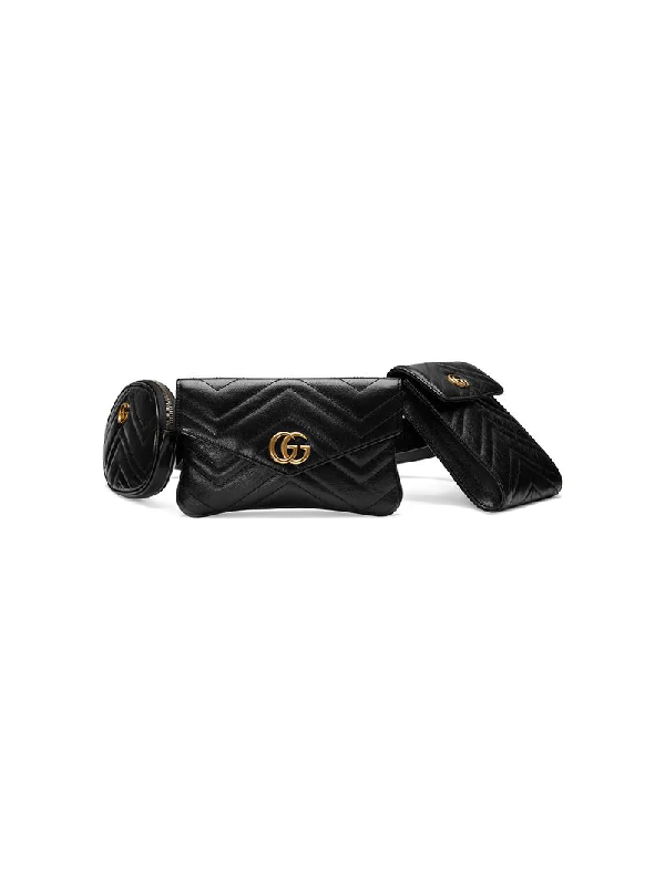 2765d1ddd823 Gucci Gg Marmont 2.0 Matelasse Triple Pouch Leather Belt Bag - Black ...