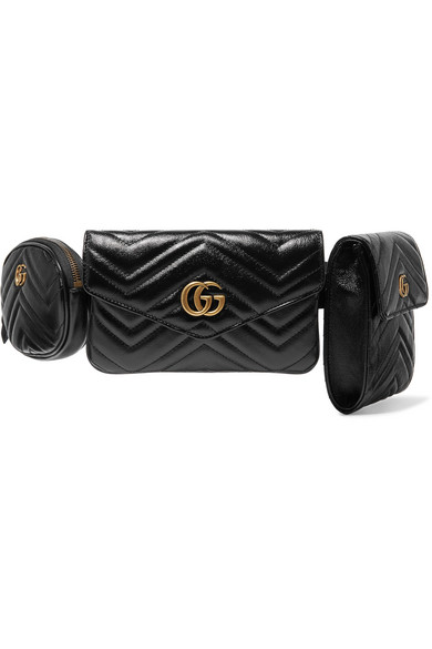 8e2103bbecd Gucci Gg Marmont 2.0 Matelasse Triple Pouch Leather Belt Bag - Black ...