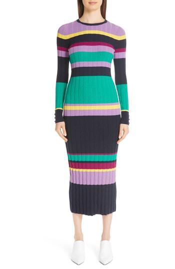 98787c42a Lela Rose Ribbed Stripe Wool Blend Sweater Dress In Navy Multi ...