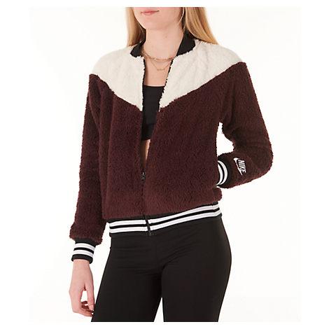 3417ed099 Women's Sportswear Sherpa Wolf Bomber Jacket, Red - Size Xsm in Burgundy  Crush/White