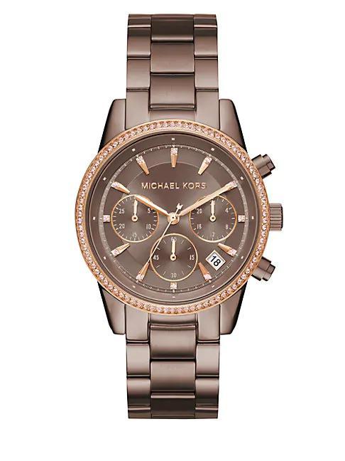 Michael Kors Ritz Crystal & Stainless Steel Bracelet Watch In Brown