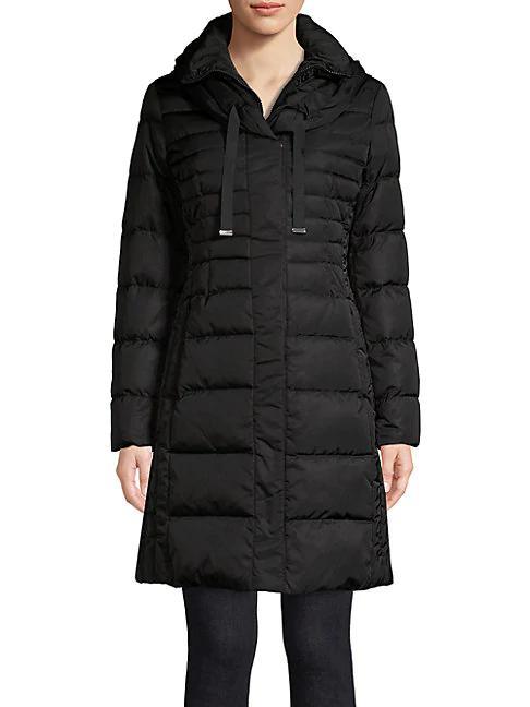 Tahari Hooded Puffer Jacket In Black