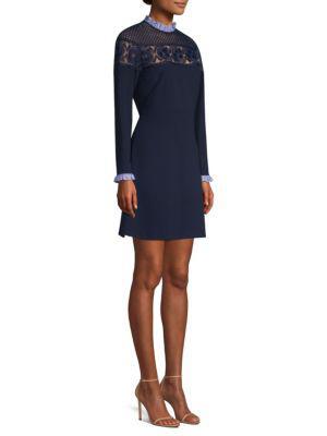 Iris Lace Ruffle Mini Dress In Deep Navy