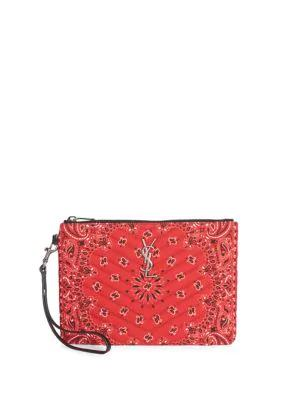 8fc2c2a7294 Saint Laurent Medium Monogram MatelassÉ Bandana-Print Cotton Pouch In Rose