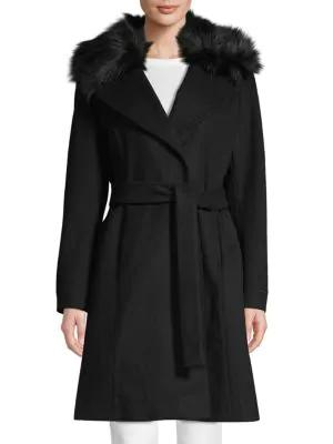 Tahari Fiona Faux Fur-trim Wrap Coat In Black