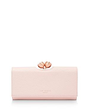 5cb34eee11 Ted Baker Muscovy Bobble Matinee Textured Leather Wallet In Light Pink/Gold