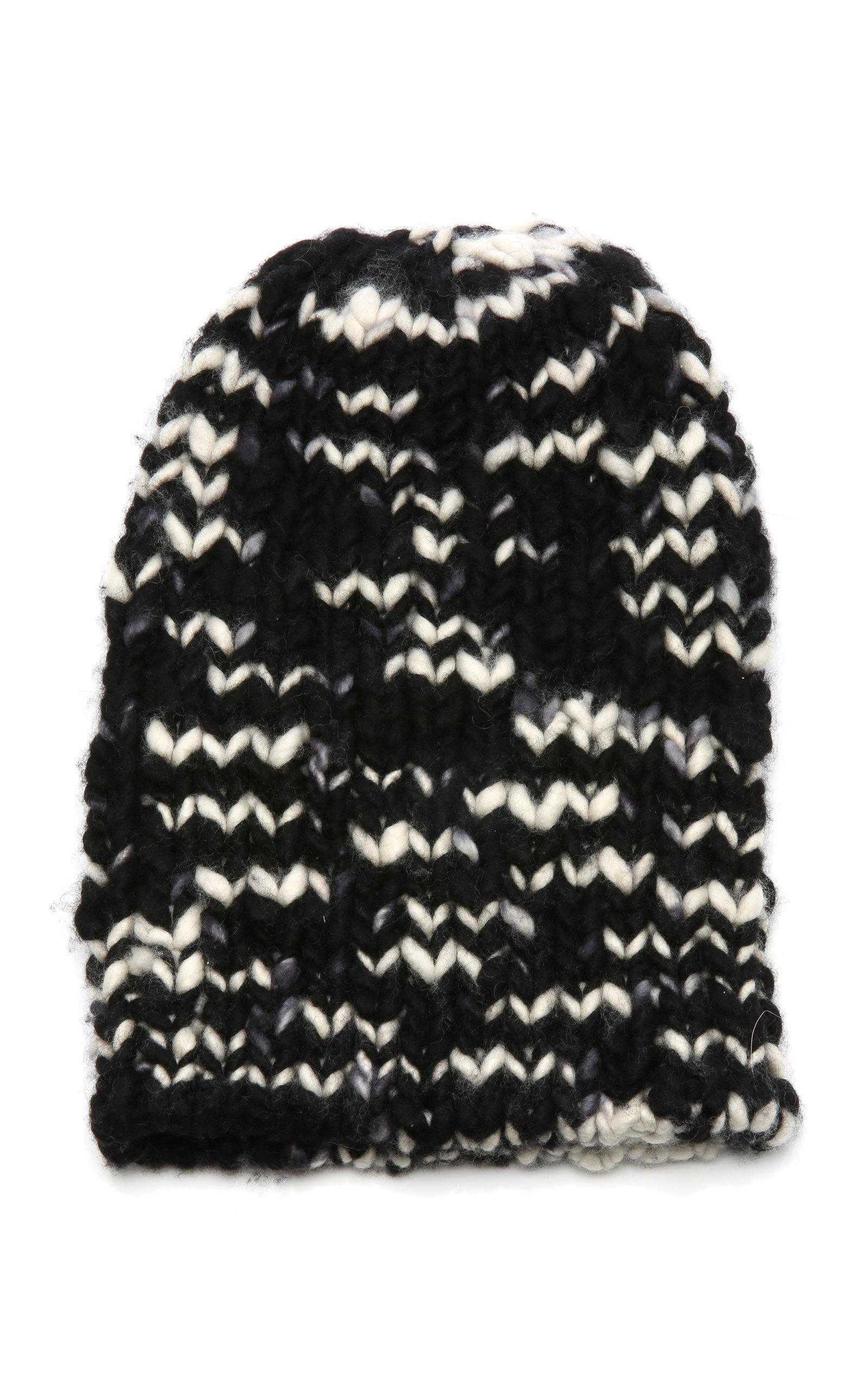 6bb9db770bbe7b The Elder Statesman Chunky Hand-Knit Cashmere Beanie In Black/White ...