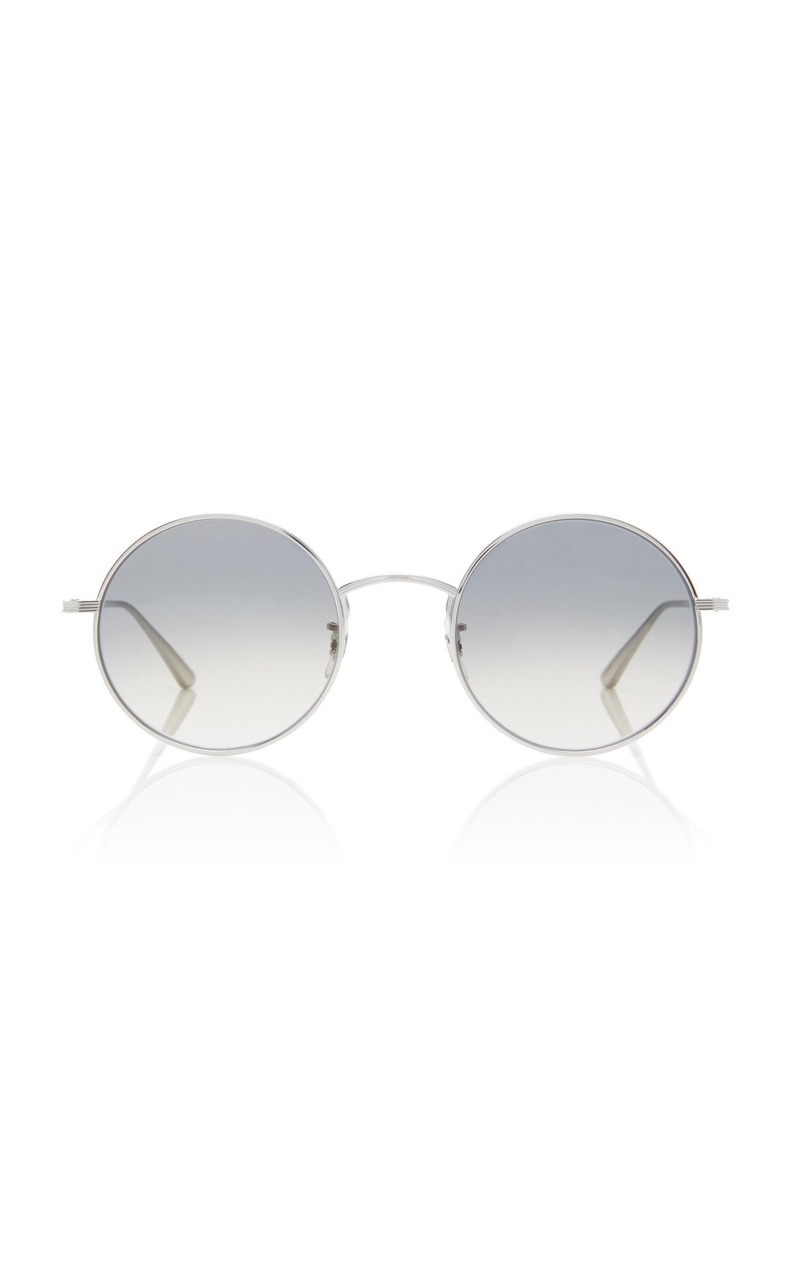 7fe4935164c Oliver Peoples After Midnight Round Metal Sunglasses In Silver ...