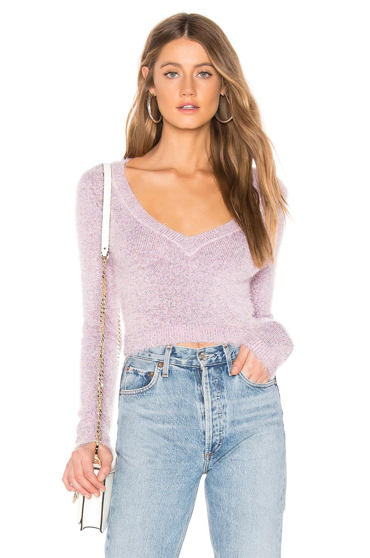 Majorelle Rainbow Glitter Sweater In Lavender. In Blush Rainbow