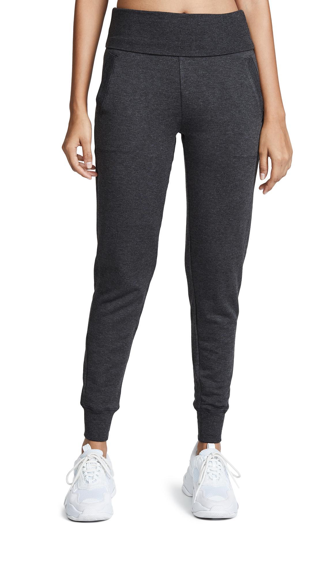 b95948b020a39 Beyond Yoga Cozy Fleece Fold Over Long Sweatpants In Charcoal Heather Grey
