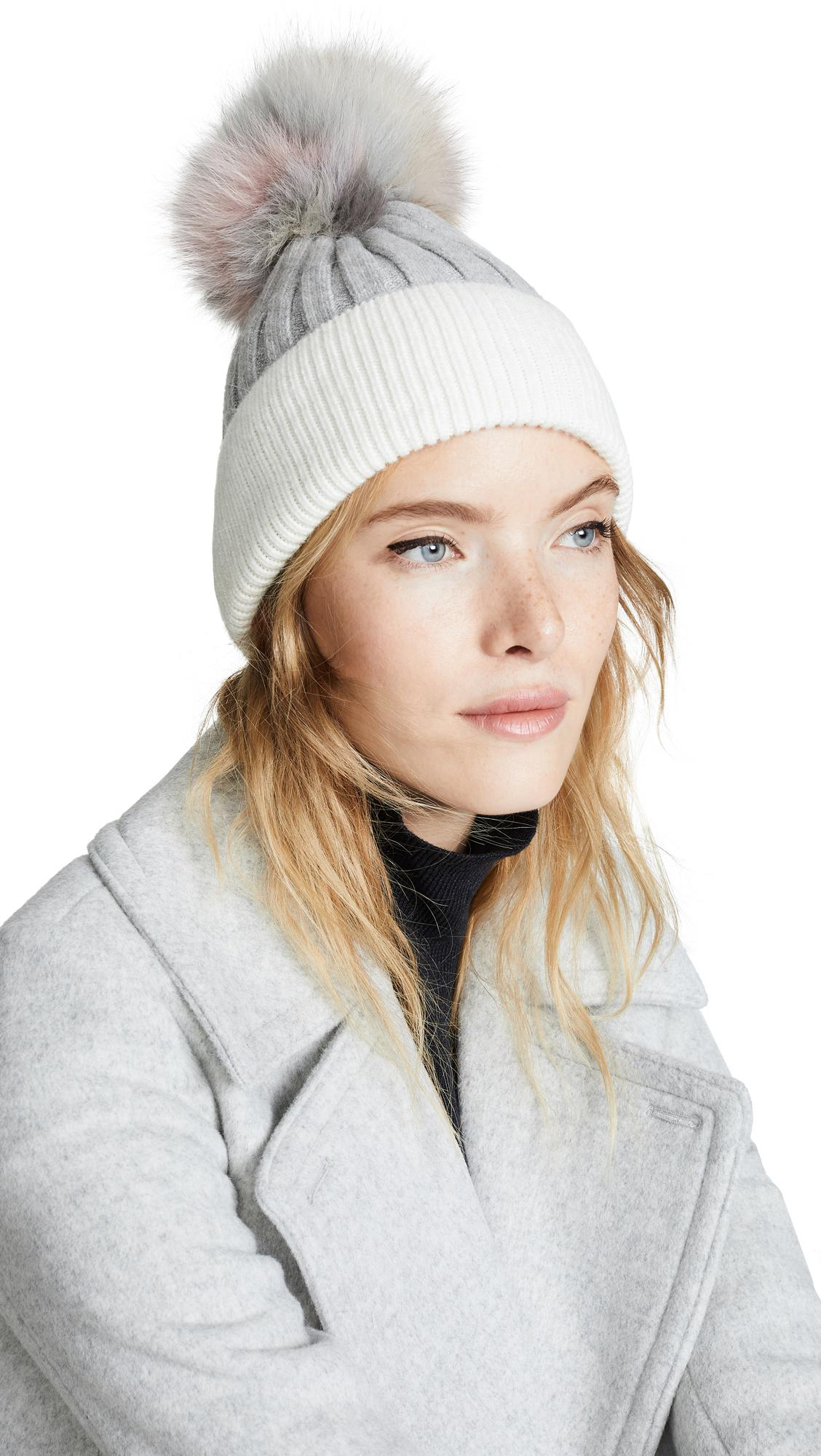 654574576 KNIT HAT WITH FUR POM