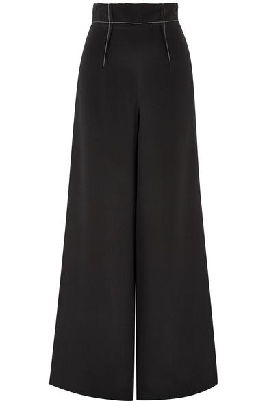 Cushnie Silk-Crepe Wide-Leg Pants In Black