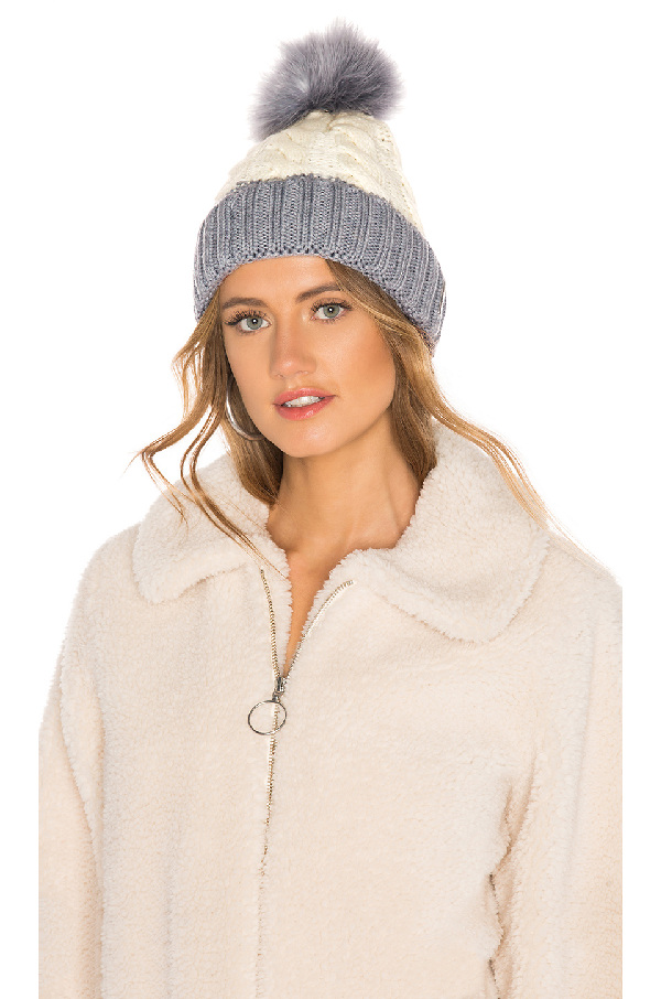 Soia Amp Kyo Cable Knit Beanie With Removable Feather Pompom