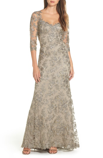 470a57732fd Tadashi Shoji Corded Embroidered Lace Gown In Smoke Pearl