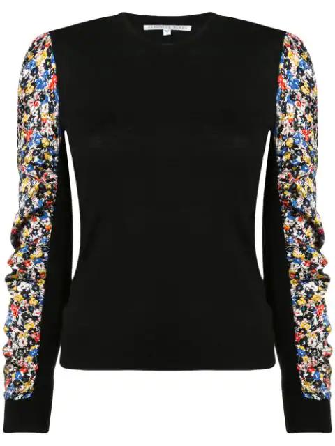 Veronica Beard Adler Stretch Silk Sleeve Merino Wool Sweater In Black