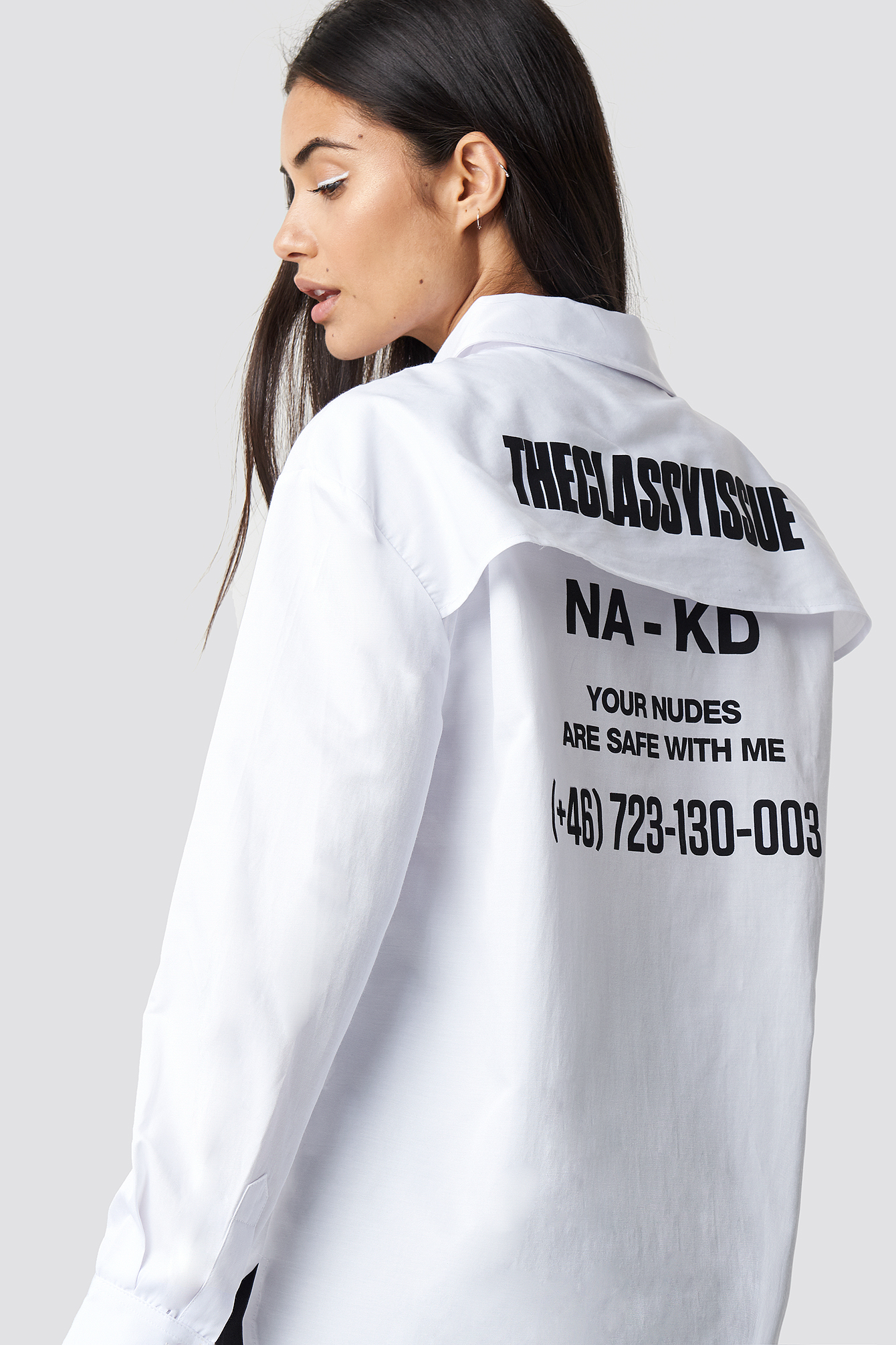 The Classy Issue X Na Kd The Classy Safety Shirt White