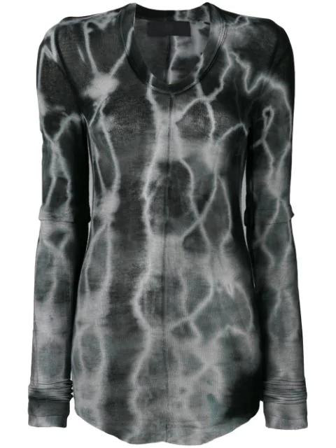 Marc Le Bihan Tie-Dye Longsleeved T-Shirt - Grey