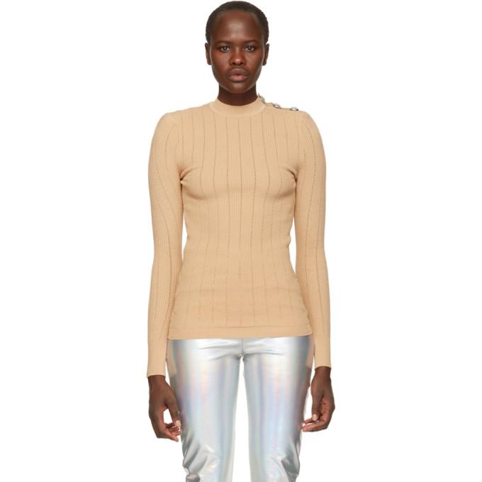 Balmain Beige Rib Knit Sweater In C0405 Nude