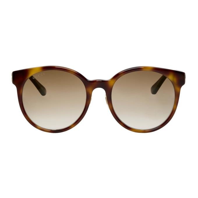 be29353c7b8 Gucci Tortoiseshell Round Striped Sunglasses In 005 Havana