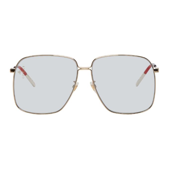 ea743d76268 Gucci Gold And Blue Square Sunglasses In 006 Gold
