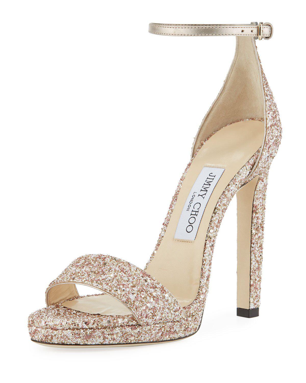 f802757fe37 Jimmy Choo Misty Glitter Platform Sandals In Rosewood Mix