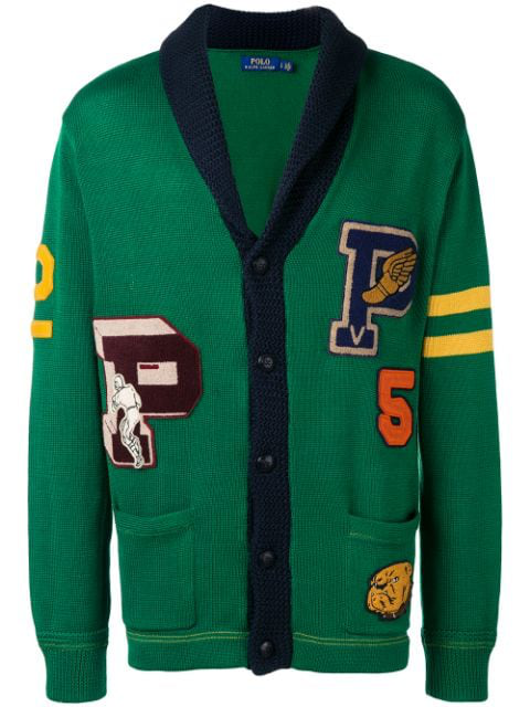 Polo Ralph Lauren Letterman Cardigan In 001 Green