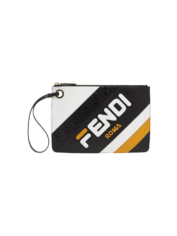 1ca7841bca07 Fendi X Fila Medium Mania Logo Leather Clutch - Yellow In Black ...