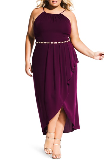 Trendy Plus Size High-Low Faux-Wrap Dress in Mulberry