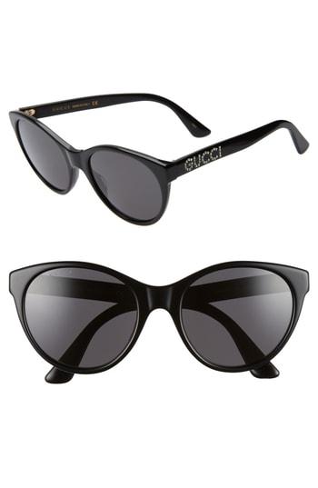 dd45ae20d06f Gucci 54Mm Round Cat Eye Sunglasses - Black/ Crystal/ Solid Grey ...