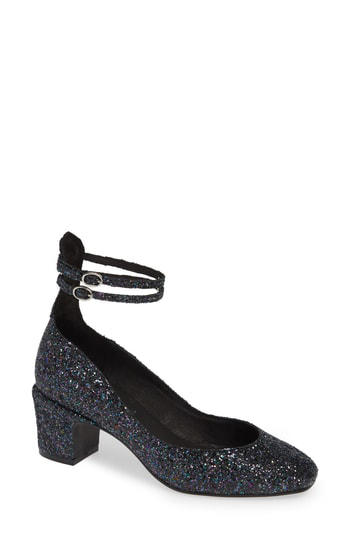 09f5b8e8fb3 Free People Lana Ankle Strap Pump In Navy Glitter Patent Leather ...