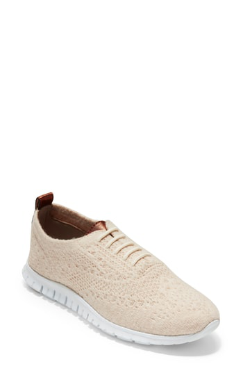56cf045d80 Cole Haan Zerogrand Stitchlite Wool Flat In Shifting Sand Fabric ...
