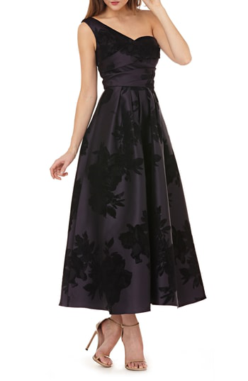 7a8c1dc4e1e Kay Unger Mikado One-Shoulder Gown In Plum   Black