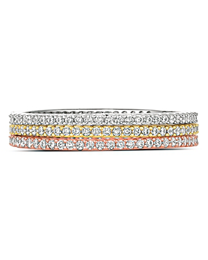 d1146030d Crislu Three-Tone Stackable Rings In Platinum-Plated Sterling Silver, 18K  Gold-