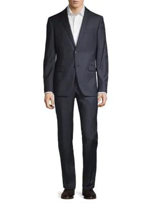 John Varvatos Slim-fit Bedford Windowpane Wool Suit In Grey