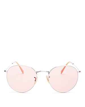 cf36ae43b Ray Ban Ray-Ban Unisex Evolve Polarized Round Sunglasses, 53Mm In  Silver/Pink