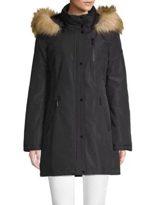 Tahari Whitney Faux Fur-trim Hooded Coat In Black