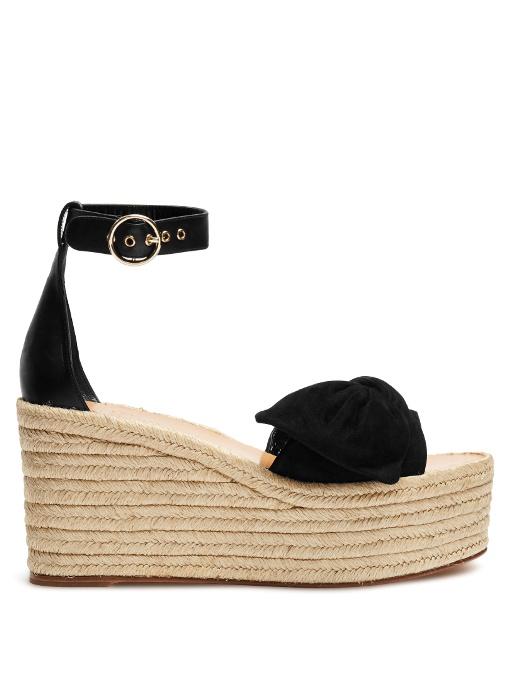 98372673ea Valentino Tropical Bow Suede Espadrille Wedge Platform Sandals In Black